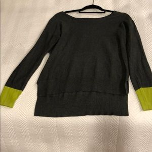 Central Park west S gray w/ green sleeves sweater